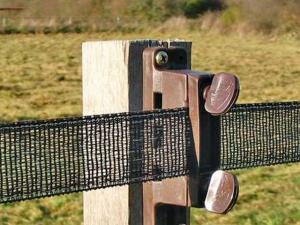 isolateur marron sur piquet de bois